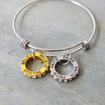 faith inspiration bangle bracelet, bff, best friend gift, bridesmaid gift, believe, faith trust jewelry, religious, christian, ring jewelry