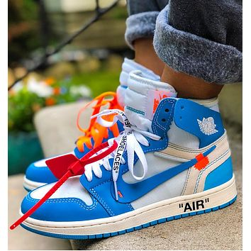 NIKE AIR JORDAN 1 X OFF-WHITE AJ1 OW Popular Women Men High Top Sport Sneakers Shoes Blue&White