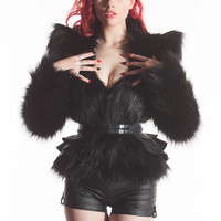 XS Black Artifice Faux Fur Jacket by Artifice Clothing (photoshoot sample)