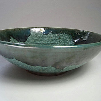 Medium Pottery Mixing Bowl, Ceramic Stoneware Rustic, Green Kitchen Decor House Warming Gift
