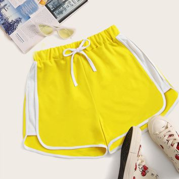 Contrast Piping Trim Drawstring Track Shorts