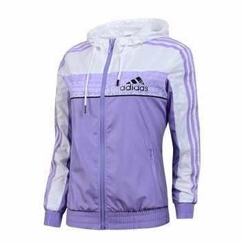 Adidas jacket, women's windproof jacket, hooded outdoor sunscreen, sportswear, casual
