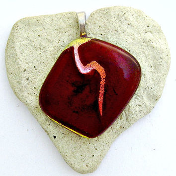 Fused Dichroic Glass Pendant - Cherry Red with Copper Gold Wave