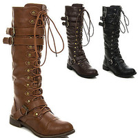 New Women's Knee High Lace Up Buckle Fashion Combat Military Boots SOLDIER