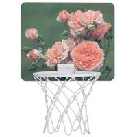 Beautiful pink roses on a natural green background mini basketball backboard