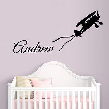 WALL DECALS BOY PERSONALIZED NAME PLANE VINYL DECAL STICKER KID ROOM DECOR D1427