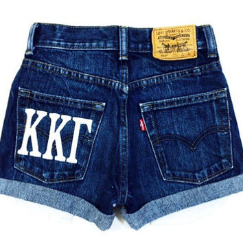 Sorority Embroidered Greek Letters - Levi high waisted denim shorts - All Sizes Available
