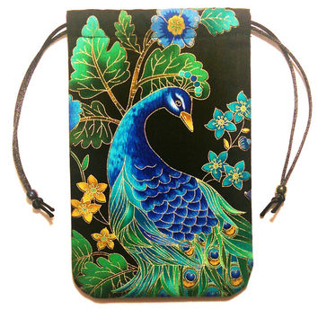 "Peacock Tarot Bag Midnight Plumes  5""x7"" Drawstring Pouch Rune Crystals Jewelry"