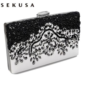 SEKUSA Pu Women Messenger Chain Shoulder Handbags Beaded Handmade Style Metal Diamonds Evening Bags Leather Fashion Purse Bags