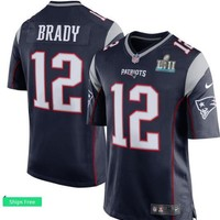 Men's New England Patriots Tom Brady Nike Navy Super Bowl LII Bound Game Jersey