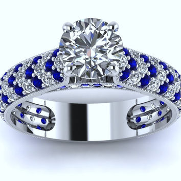 1.92ct Round Diamond and Sapphire Engagement Ring 18kt White Gold JEWELFORME BLUE