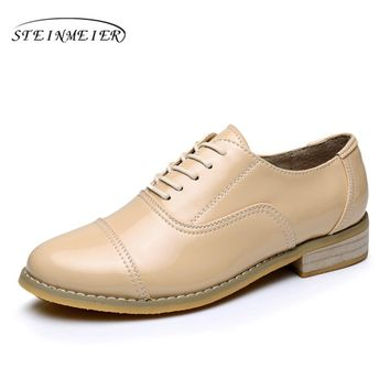 Woemn oxford shoes for women Genuine leather woman flat US size 11 designer vintage shoes round toe handmade beige 2017 with fur