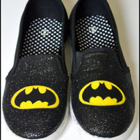 Made to Order Shoes, Custom Batman Shoes, Womens Batman Shoes, Comics, Shoes, Batman, Custom Sneakers, Batman Glitter Shoes, Glitter Shoes