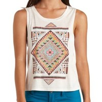 Rhinestone Aztec Graphic Muscle Tee - Oatmeal Heather
