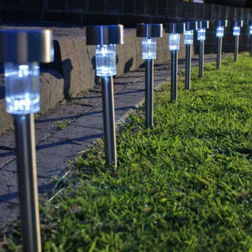 10 PCS Garden Outdoor Stainless Steel LED Solar Lights