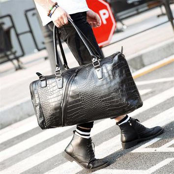 Hot ! High Quality Luggage Travel Bag Fashion Men Travel Bags Duffle Weekend Bag Crocodile Pattern Black