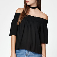 LA Hearts Smocked Off-The-Shoulder Top at PacSun.com