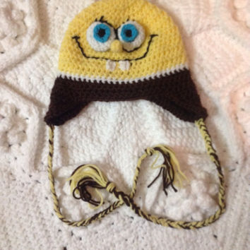 Spongebob SquarePants Inspired Hat Photo Props Sponge Bob Square Pants Made to Order Hand Crochet Newborn Infant Toddler sizes with earflaps
