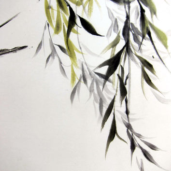 Japanese Ink Painting Japanese art Asian art  Sumi-e Suibokuga  Rice paper  Black Large 18x28' Willow and swallow