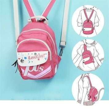 Lovelive Minami Kotori Pink Mini Backpack Satchel Female Casual Multifunctional Canvas Lolita Shoulder Bag Rucksack for Girls