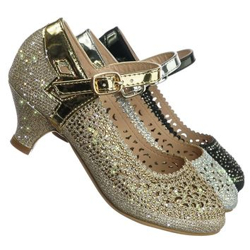 Jemma96K Girls Rhinestone Mary Jane Heel Pump - Kids Sparkle Dance Glitter Shoe