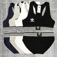 Adidas Popular Women Print Sport Tank Top Vest Bra Briefs Underwear Set Two-Piece