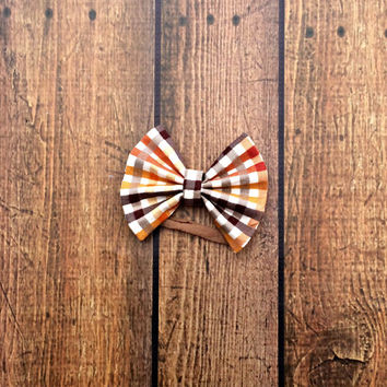 fall gingham bows headband, baby girl bow headbands, toddler bows, plaid bows, thanksgiving bows, fall baby shower gift, fall baby clothes