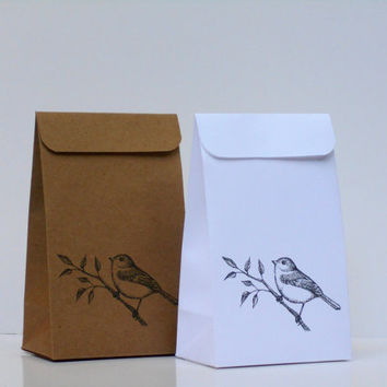 12 Elegant and Rustic Wedding Kraft Favor Bags - Bird Bag - Birds - Party Favor Bag