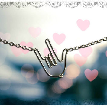 I Love You Hand Necklace- Sign Language Jewelry – ILY