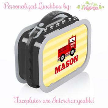 Fire Truck Lunchbox - Personalized Lunchbox with Interchangeable Faceplates - Double-Sided Fire Engine Lunchbox - Fire Engine Lunchbox