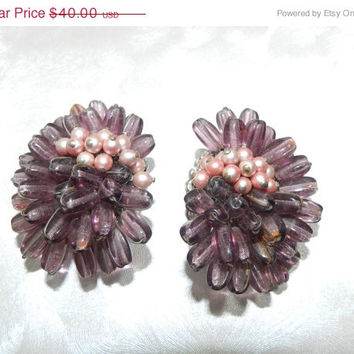 Mothers Day Sale Vintage 1950s Purple and Pink Cluster Earrings Signed ROBERT, Miriam Haskell Style,  Hand Wired, Oblong Glass Beads, Faux P