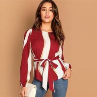 Office Ladies Elegant Tops Women Long Sleeve Blouse Burgundy Striped Print Top Woman Blouses Casual Shirts