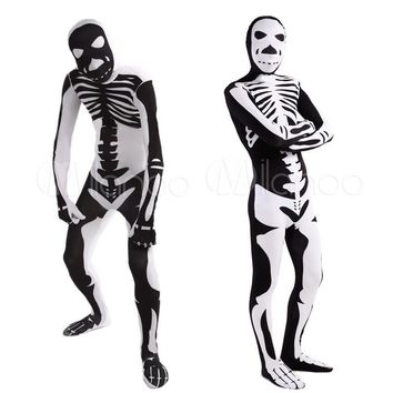 High Quality Adult/Children Halloween Skull Costumes Mens White/Black Human Skeleton Lycra Spandex Zentai Costume Full Body Suit
