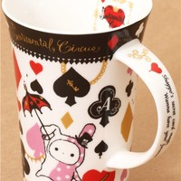big white Sentimental Circus cup rabbit hearts spades clubs - Cups-Mugs - Bento Boxes