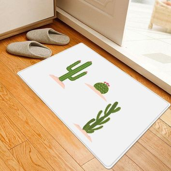 Cactus Flower Pattern Water Absorption Area Rug