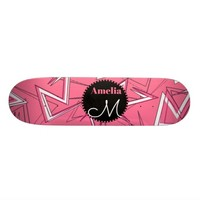 White and Black Zigzags on Pink Skateboard