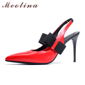 Meotina Genuine Leather Shoes Women Pumps Slingback High Heels Pointed Toe Thin High Heels Bow Sexy Stiletto Pumps Red Yellow