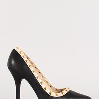 Leatherette Pyramid Studded Pointy Toe Pump