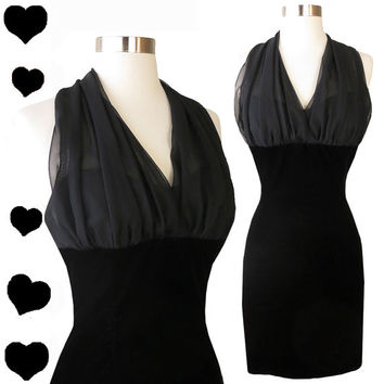 Vintage 80s 90s Dress // Black Chiffon Halter Velvet Cocktail XS 1980s Prom Dance Mini Sweetheart Neckline Party Glam Diva