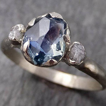 Montana Sapphire Partially Faceted Multi stone Rough Diamond 14k White Gold Engagement Ring Wedding Ring Custom Gemstone Three stone 0952