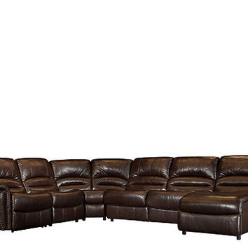 Mason 5-pc. Leather-Match Power Reclining Sectional Sofa w/ Full Sleeper | Sectional Sofas | Raymour and Flanigan Furniture