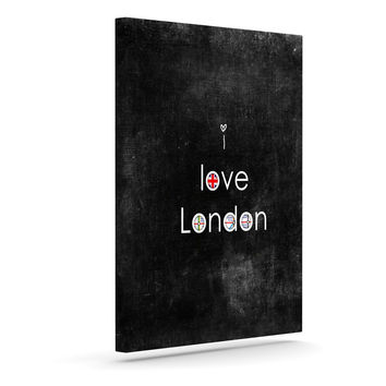 "Ingrid Beddoes ""I Love London"" Black Grundge Outdoor Canvas Wall Art"