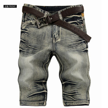 New Fashion Robin Jeans Shorts For Men Denim Overall Shorts Pants 1368