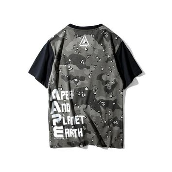 AUGUAU AAPE 'Apes And Planet Earth Logo' Spume Splice T-Shirt