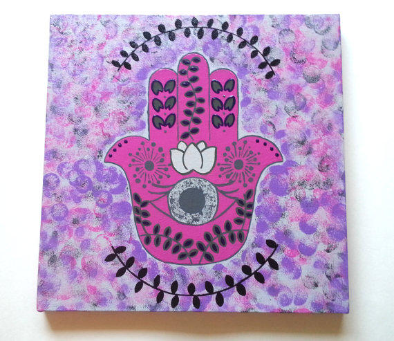 hippie hamsa hand evil eye bohemian from StarrJoy16 on Etsy ~ 062437_Dorm Room Canvas Ideas