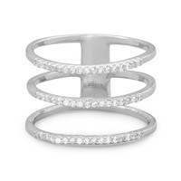 Rhodium-Plated Triple Row Cubic Zirconia Ring