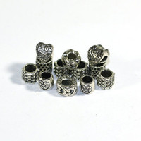 12 Large Hole European Beads: European Style Beads, Silver Spacer Beads, hearts, Rope Link