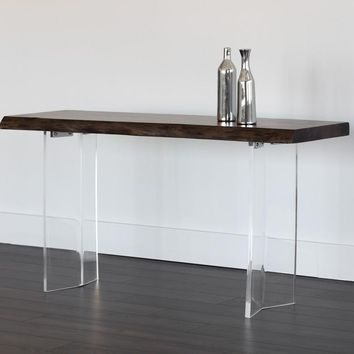 ROSA ACRYLIC BASE NATURAL ACACIA WOOD WITH DARK WALNUT FINISH TOP CONSOLE TABLE