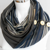 Men's scarf, Striped men scarf, Brown scarf, Unisex scarf, Brown, beige, gray scarf, Male loop scarf, Winter scarf men, Men infinity scarf