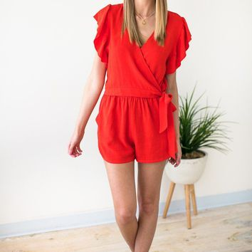 Hold on Tight Wrap Romper in Tomato